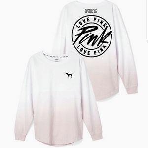 VS Pink Varsity Crew ombre pullover long sleeve